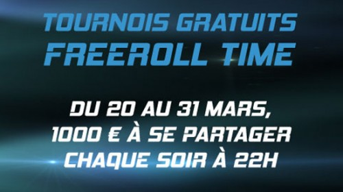 « FREEROLL TIME  » sur PMU Poker du 20 au 31 Mars